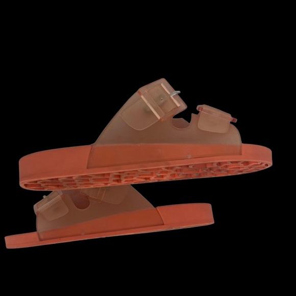 ZARA Orange Rubberized Buckled Slide Sandals